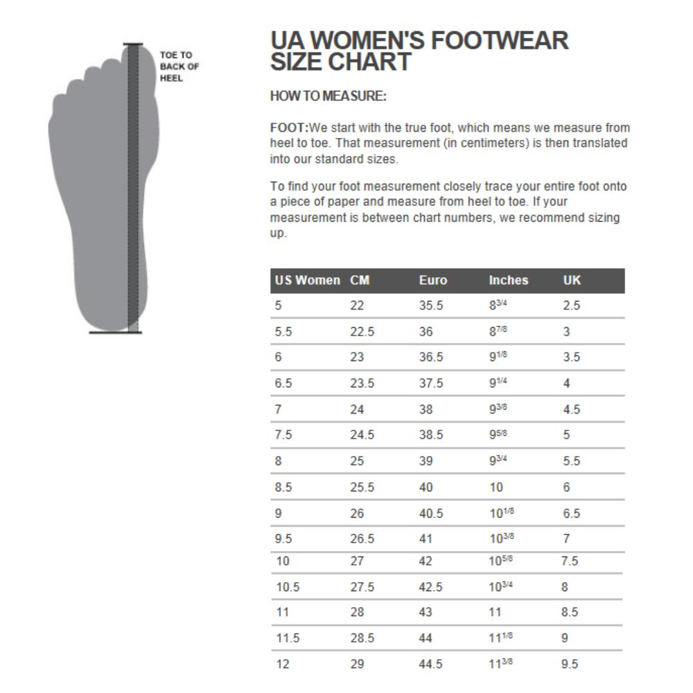 Under Armour Womens Shoes Sizing Chart
