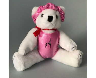 Dreamlight Gym Bear with Leotard, Scrunchie, Crystal Pattern - 12 inch - Pink